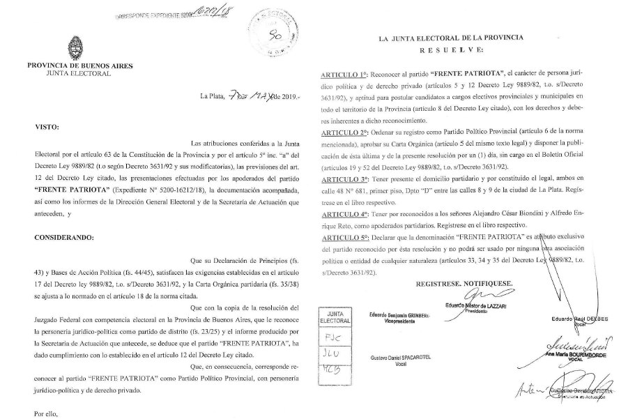 La Junta Electoral Bonaerense dio también personería al Frente Patriota al superar los 11.000 afiliados