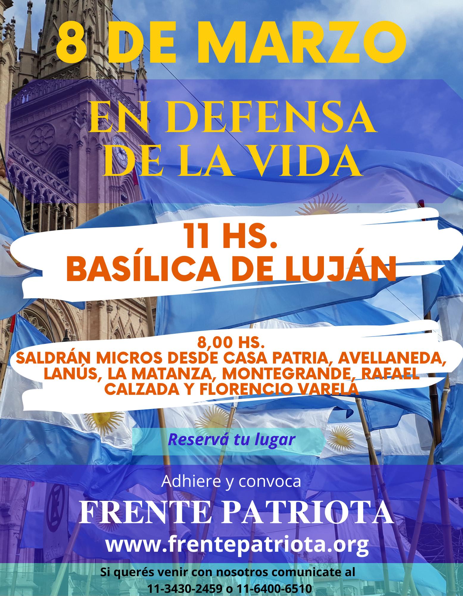 8M: Adhesión y convocatoria a la Misa por la Vida en Luján